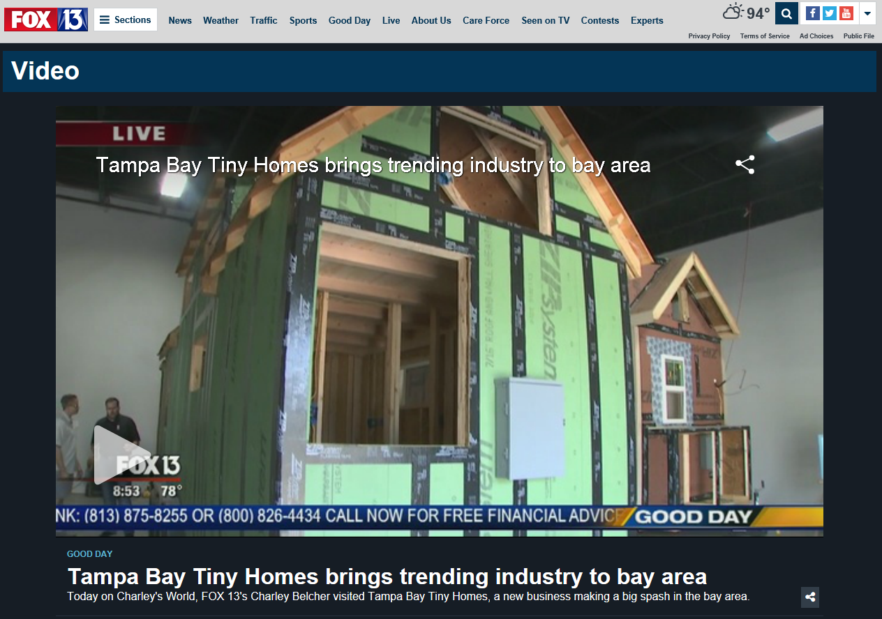 Tampa bay tiny homes featured on fox 13 tampa bay tiny homes for Small home builders tampa